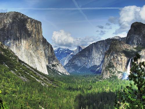フリー画像| 自然風景| 山の風景| 飛行機雲| 岩山の風景| アメリカ風景| ヨセミテ国立公園| HDR画像|    フリー素材|