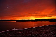 [フリー画像] [自然風景] [湖の風景] [夕日/夕焼け/夕暮れ] [赤色/レッド] [アメリカ風景]      [フリー素材]