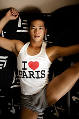 Jun (Markus Bollingmo) Tags: boy ballet man paris love asian japanese bed tank underwear top leg dancer sheets thigh classical undies markus jun bulge bollingmo markusbollingmo