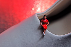 Little Goody Two-Shoes (JD Hancock) Tags: red favorite macro scale catchycolors fun shoe miniature shoes little bokeh small sunday perspective explore cc tiny figure ho 1k hoscale catchycolorsred nogeo littledudes inkitchen cmwd cmwdred 7daysofshooting jdhancock week1onyourfeet smallsunday
