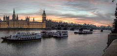 Thames at Westminster (pbr42) Tags: uk bridge sunset england autostitch panorama london water westminster thames architecture river boats bigben h2o parlement hdr qtpfsgui