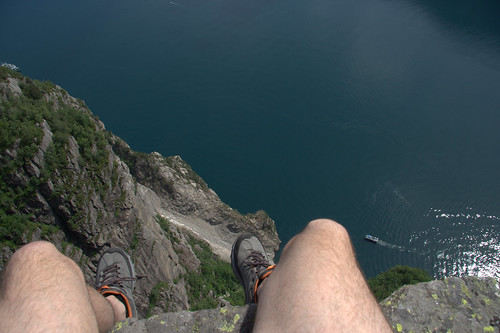 My legs hanging from Preikestolen