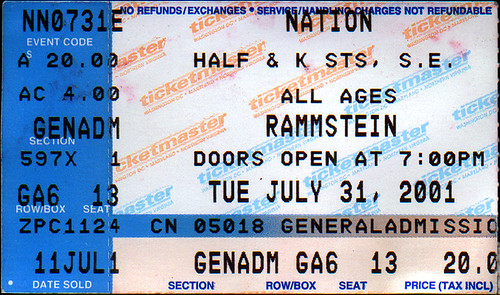 20010731 - Rammstein ticket stub - Nation