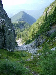 Looking down the gully from the saddle.