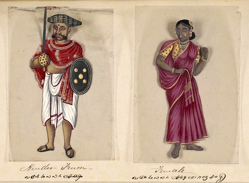 017- Esgrimista hindú y su mujer-Seventy two specimens of castes in India 1837