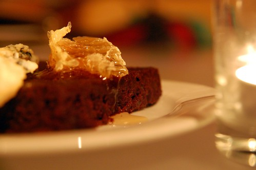Beet Brownie with Honey Comb & Blue Cheese