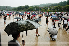 Umbrellas, Uijeongbu, Korea (Seven Seconds Before Sunrise) Tags: travel people woman man rain umbrella asia mud korea dirt southkorea uijeongbu gyeonggido gyeonggi
