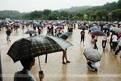 Umbrellas, Uijeongbu, Korea (Seven Seconds Before Sunrise) Tags: travel people woman man rain umbrella asia mud korea dirt southkorea uijeongbu gyeonggido gyeonggi