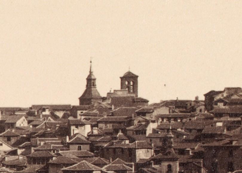 Iglesia de la Magdalena de Toledo en 1857. Al fondo, los restos del Convento de Agustinos. Detalle de una fotografía de Charles Clifford