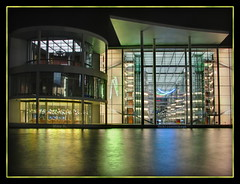 Berlin river reflections (Mike G. K.) Tags: berlin glass architecture night buildings reflections river germany geotagged lights exterior interior futuristic blending paullbehaus regierungsviertel spreebogen exposureblending schiffbauerdamm photomatix 3exp governmentdistrict geo:lat=52520112 geo:lon=13377281