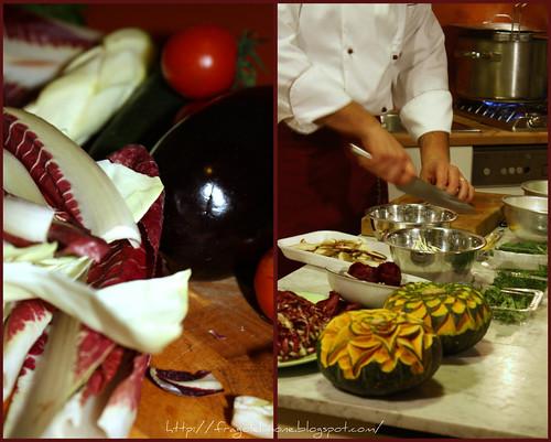Collage cuoco e verdura