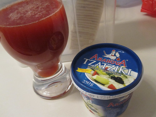 Clamato, tzatziki, crackers at home