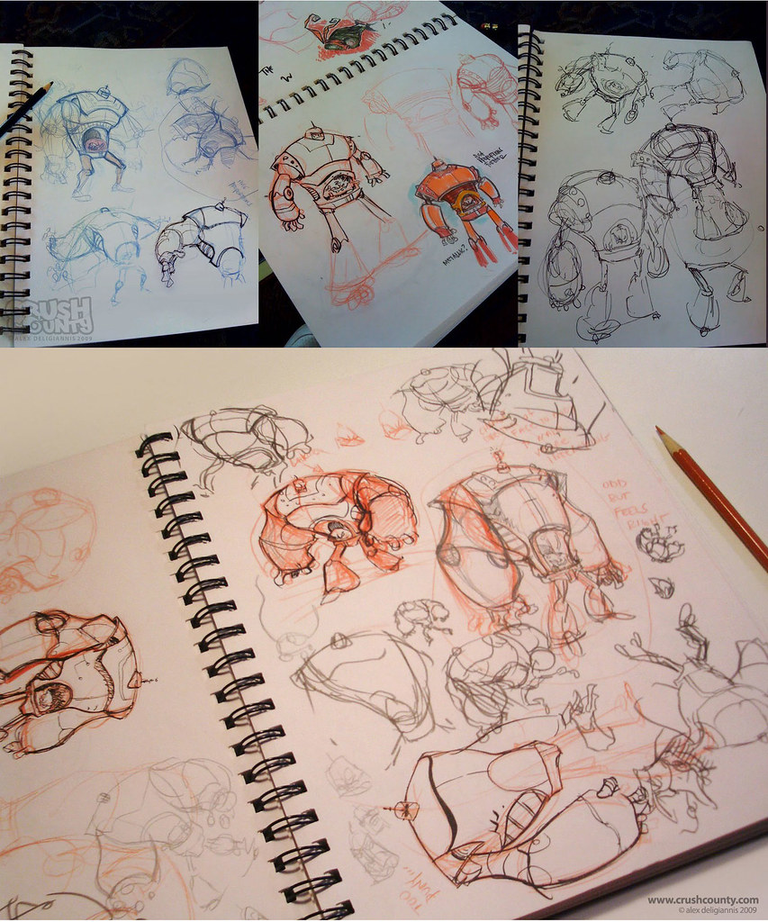 "Big Toon's ""KRANG's Android Body"" - sketches (( 2009 )) [[ the work of Alex ""Toon"" Deligiannis ]]"