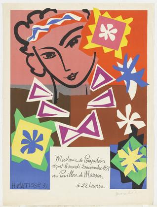 Madame de Pompadour reçoit le Mardi 20 Novembre 1951 au Pavillon de Marsan a 22 heures, Henri Matisse