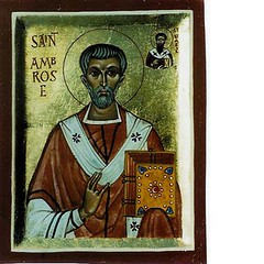 St Ambrose of Milan (Aidan Hart Icons) Tags: portrait art church painting religious icons catholic saints christian holy western sacred tradition eastern orthodox iconography goldleaf stambrose eggtempera gessopanel aidanharticons byaidanhart