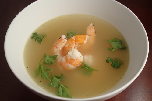 Garlic Soup with Shrimp