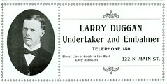 Larry Duggan, Undertaker and Embalmer, Butte, Montana (1901)