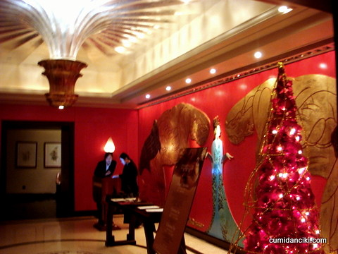 lobby with grand crystal chandelier