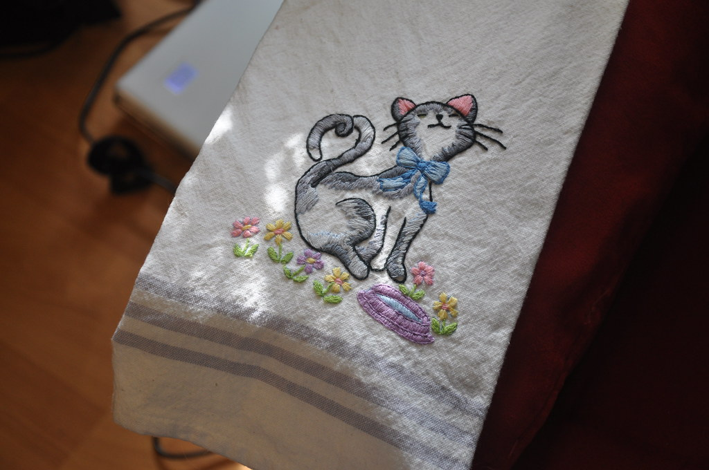 Embroidered tea towel from Linda