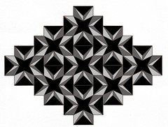 Fractured Teeth (Marguerite1997) Tags: black geometric triangles composition grey squares crosses balance symetry tesselation zentangle zenesselation