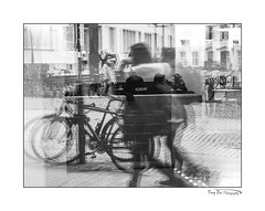 Cafe Reflections_5380 BW (The Terry Eve Archive) Tags: cafe heidelberg blackandwhite scharzweiss reflections cycles bicycles cobbles