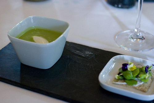 Chilled bean soup with favas on cracker