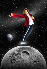 Michael Jackson, I N V I N C I B L E (Ben Heine) Tags: red portrait music moon black cel