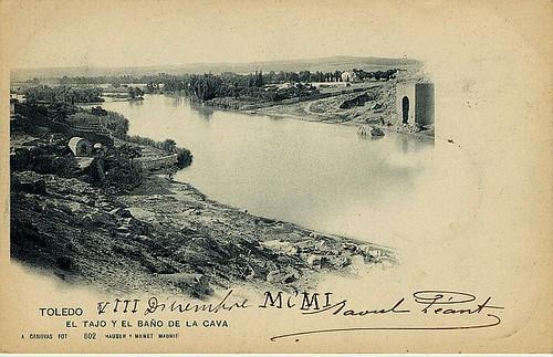 Baño de la Cava (Toledo) a principios del siglo XX. Foto Cánovas 1901