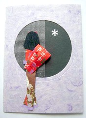 The first snow greeting card (tengds) Tags: snowflake brown lavender kimono obi greetingcard papercraft japanesepaper washi ningyo handmadecard chiyogami yuzenwashi japanesepaperdoll origamidoll japanesemeshpaper thaisaapaper kimonoback tengds