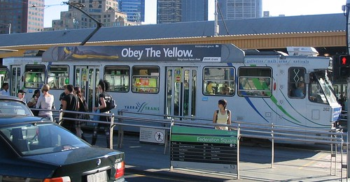 Obey The Yellow - advertising tram lanes