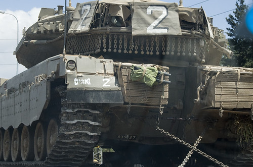 Tank on the highway in Israel.