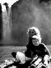 Kouper and Christian BW (Meg Palmer) Tags: snoqualmiefalls
