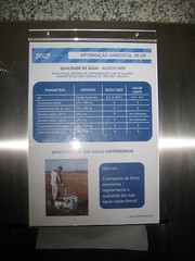 Sign in bathroom at airport showing levels of water contamination (stevenfeuerstein) Tags: slovenia piran adriatic pirano porotroz