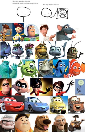"The ""Dreamworks face"" in Pixar films"