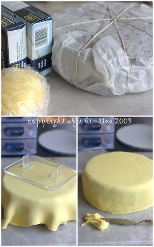 covering fruit cake with marzipan