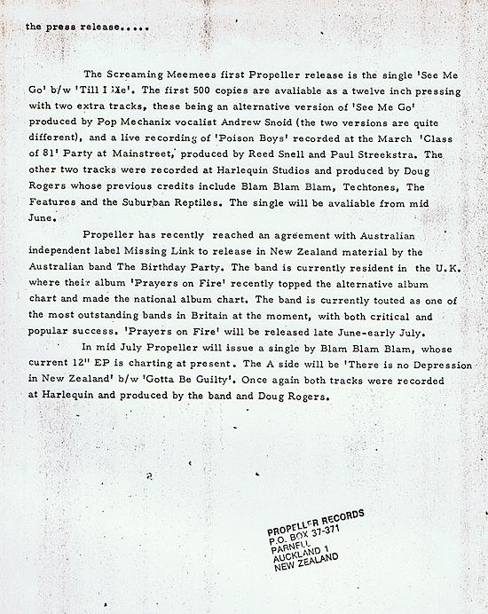 Propeller press release, 1981