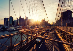 New York - Brooklyn Bridge Sunset 2 (Philipp Klinger Photography) Tags: road street new york city nyc trip travel bridge light sunset shadow vacation usa sun ny color water lines car skyline architecture backlight brooklyn america skyscraper river lens pier town us nikon colorful pattern cross manhattan district united down headlights x east cables processing flare rays states suv amerika financial philipp counterlight iloveit klinger ichliebees d700 dcdead vanagram unusualviewsperspectives rbfeatured