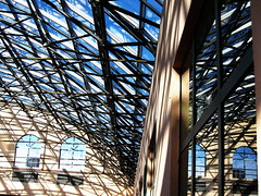 Lines and reflections (peggyhr) Tags: windows roof friends sky sunlight canada glass lines wall reflections graphics shadows bc whiterock atrium steelstructure pacificinn globalvillage2 peggyhr thepritzkerarchitectureprizeonflickr 3088a geometricexpressions