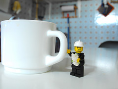 [2/365] Mr. John and the Breakfast (Anrriu) Tags: cup kitchen john bread lego mr tea cocina fireman pan te tasa bombero