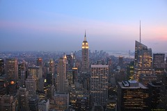 New York in the dusk (Fotis Korkokios) Tags: city nyc newyorkcity sunset sky urban usa newyork beautiful architecture america buildings lights twilight dusk manhattan horizon unitedstatesofamerica panoramic citylights metropolis empirestatebuilding bigapple urbanphotography urbanenvironment biglight canon450d fostis cityoverview canoneosdigitalrebelxsi fotiskorkokios