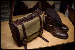 Zugster custom leather and waxwear walkabout (Adam A.) Tags: leather bag boots handmade canvas walkabout messenger montgomery custom wolverine waxed waxwear 1000mile zugster