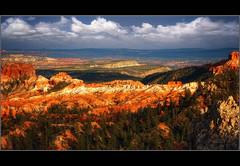 Receding Light at Bryce (Pear Biter) Tags: sunset clouds landscape utah nationalpark interestingness sandstone rocks shadows desert pano canyon cliffs hoodoo bryce amphitheater coloradoplateau holidaysvacanzeurlaub