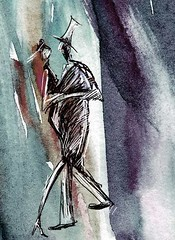 Skinny Dancers (Livinginsunday) Tags: people woman abstract men art girl female digital pen ink painting design sketch drawing mixedmedia dancer expressionism if impressionism watercolour friday 2009 illustation