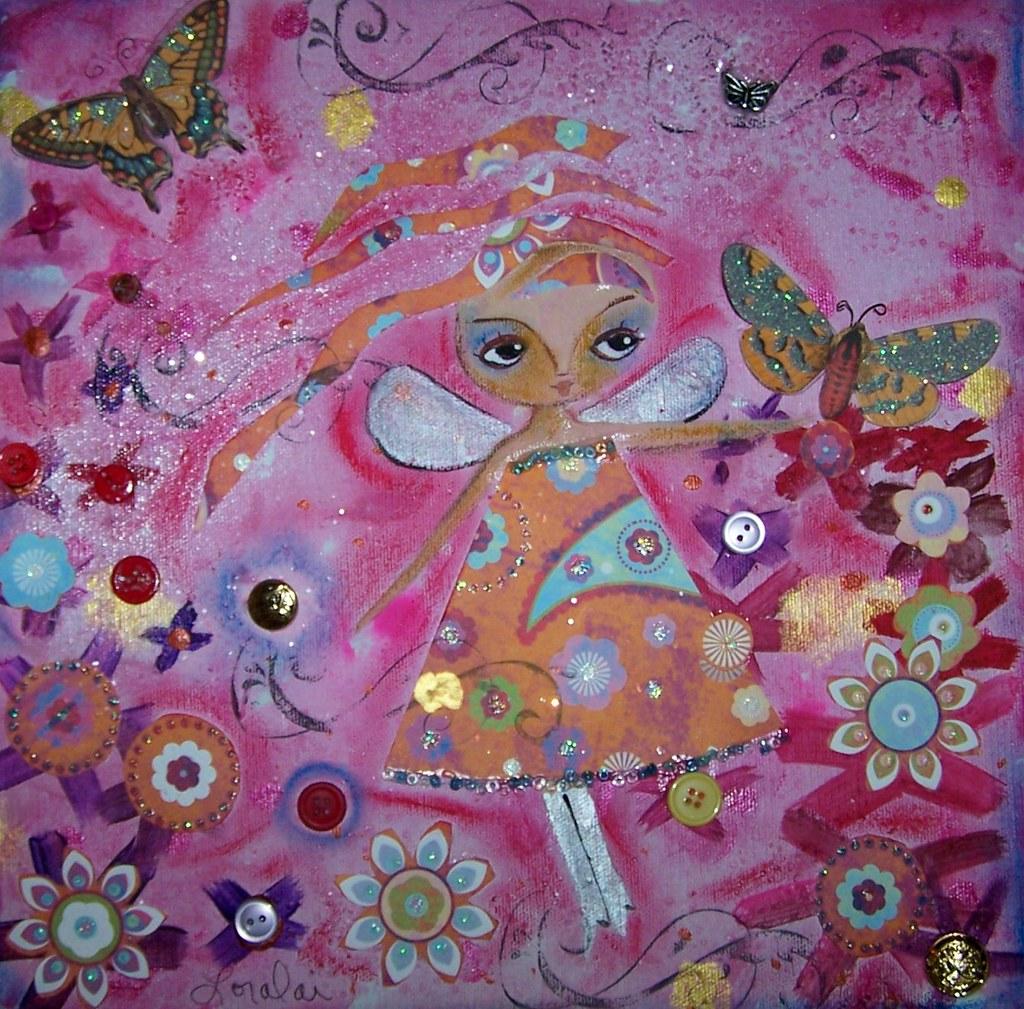 Butterflies - Folk Art Fairy Painting
