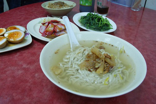 "Taiwanese cuisine; noodle, ""sugar heart"" eggs, pork and sweet patato leaves"