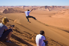 Jumping Off Big Daddy (GlobalGoebel) Tags: africa canon 350d rebel xt jump jumping sand dunes dune namibia sossusvlei littlekulala wildernesssafaris journeysunforgettable