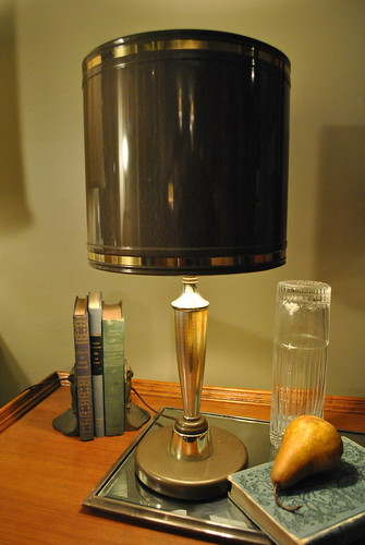 Mid-Century Gray Metal Lamp with Metal Shade