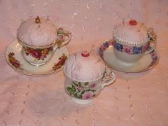 Tea cup pin cushions (mrsdutchy (shabbygirlmosaics)) Tags: china roses cup buttons pins pincushion teacup shabbychic