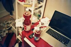 Ready for some spritz! (cranjam) Tags: uk london film ikea apple macintosh lomo lca lomography mac desk soda scrivania londra campari spritz mikael macbookpro colornegative800