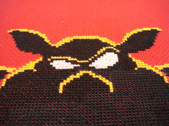 The face of evil (benjibot) Tags: crossstitch crafts videogames glowinthedark nes legendofzelda ganon